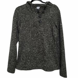 Columbia Marled Grey Button Fleece Hoodie
